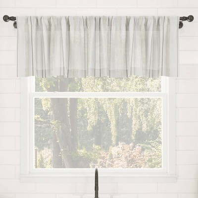 "14""x50"" Vintage Striped Anti-Dust Sheer Cafe Window Valance - Clean Window"