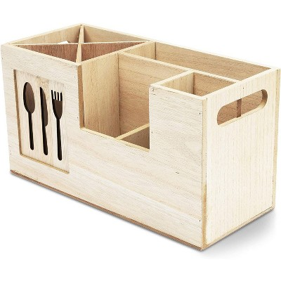 """Juvale Wooden Kitchen Utensil Caddy, Cooking Cutlery Organizer Holder for Kitchen Flatware Silverware with 8 Compartments 11""""x4.8""""x6"""""""