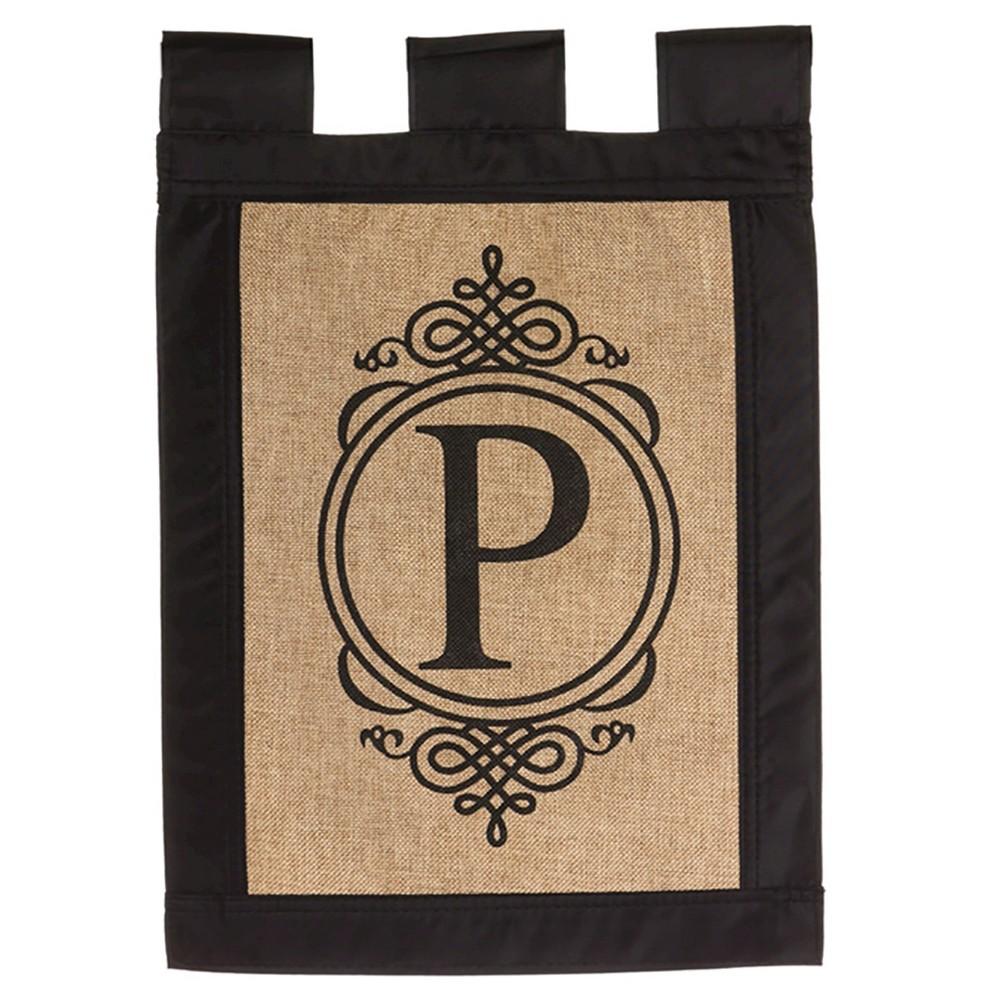 12.5 x 18 Polyester Monogram P Burlap Garden Flag - Evergreen - Brown - Evergreen
