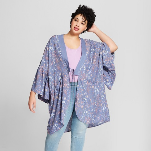 98e21bc6d65 Women s Plus Size Floral Print Cocoon with Flounce Sleeves Kimono Jackets -  Universal Thread™ Blue