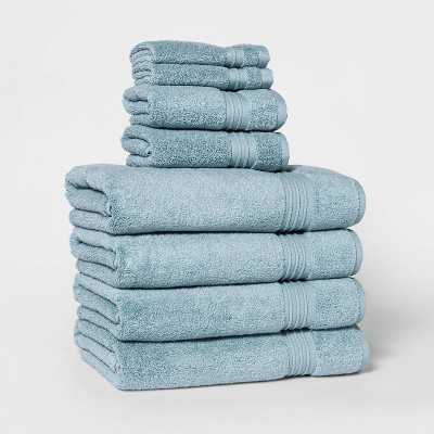 8pc Bath Towel Set Aqua - Threshold Signature™