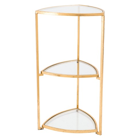 Luxe 3 Tier Glass And Steel Corner Accent Table Gold Zm Home