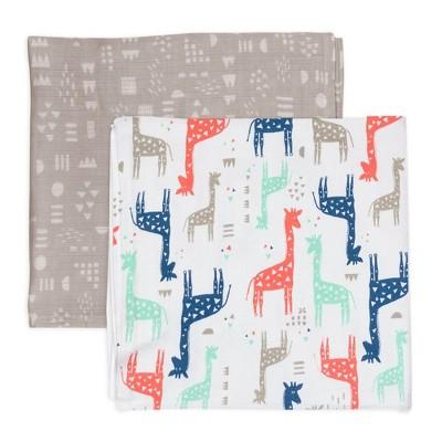 Honest Baby Organic Cotton Muslin Swaddling Blankets - Giraffes 2pk