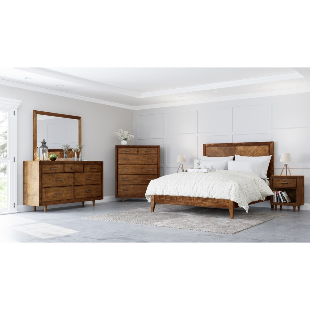 Image of 6pc Aurora Mid Century King Bedroom Set Brown - Abbyson Living