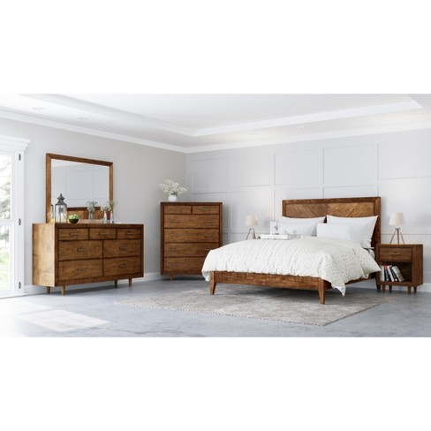 6pc Aurora Mid Century Bedroom Set King Brown - Abbyson Living