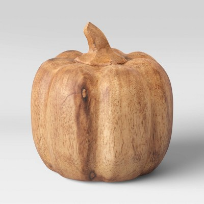 "4.8"" x 5"" Decorative Wood Pumpkin Sculpture Natural - Threshold™"