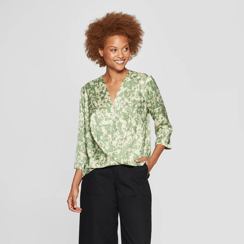Women's Long Sleeve V-Neck Wrap Blouse - Prologue Green L