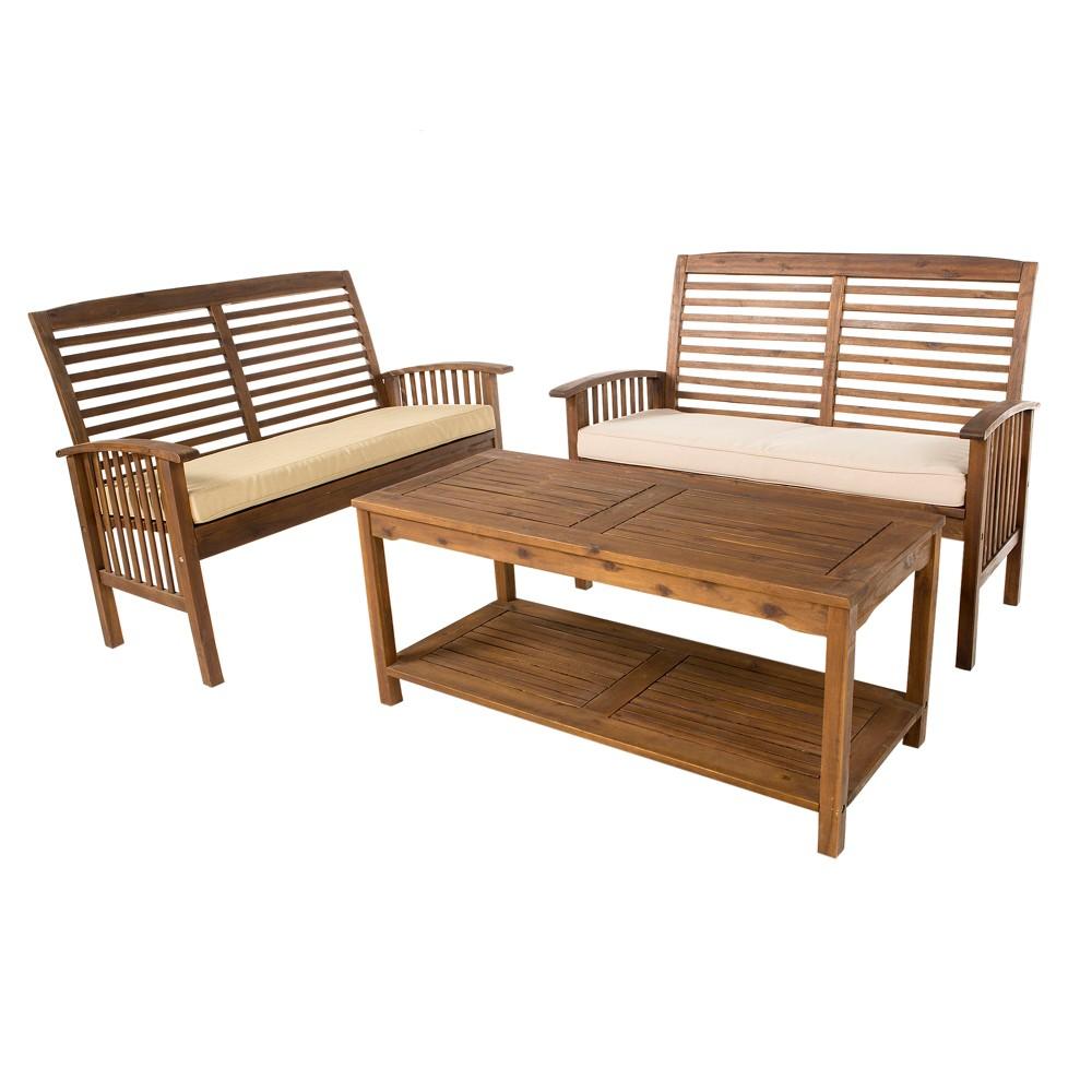 3pc Acacia Wood Patio Conversation Set - Dark Brown - Saracina Home