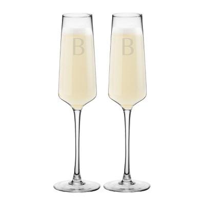 9.5oz 2pk Monogram Estate Champagne Glasses - Cathy's Concepts