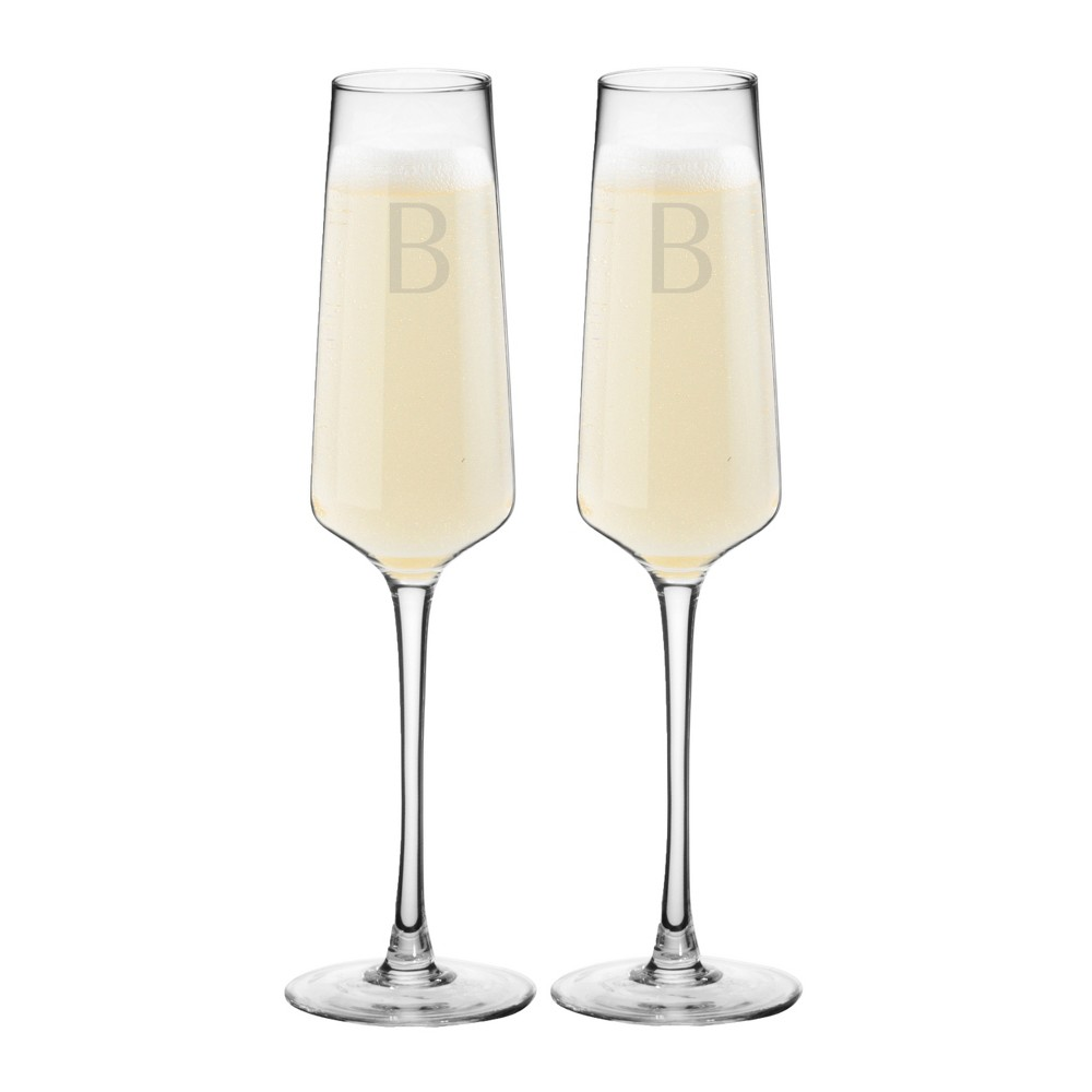 9.5oz 2pk Monogram Estate Champagne Glasses B - Cathy's Concepts, Clear