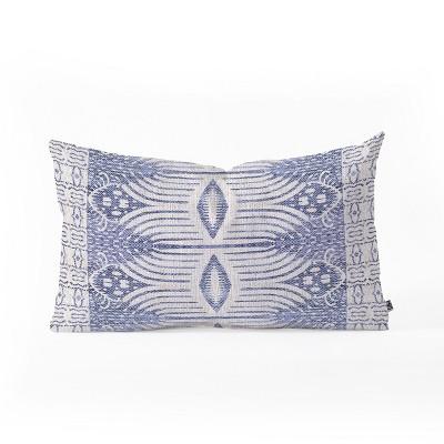 Holli Zollinger French Geometric Ikat Lumbar Throw Pillow Blue - Deny Designs