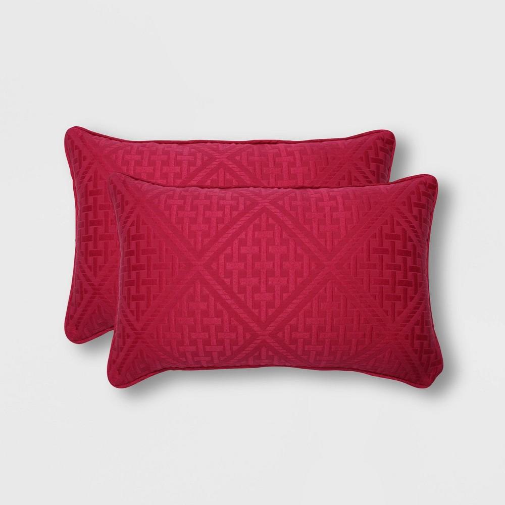 2pk Paragon Raspberry Rectangular Throw Pillows Pink - Pillow Perfect