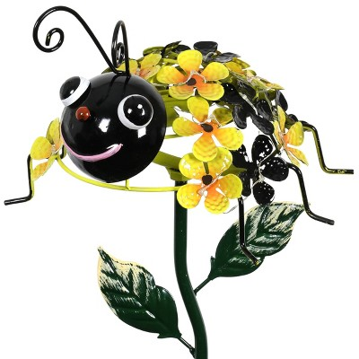"26.18"" Metal Solar Bumble Bee Stake - Exhart"