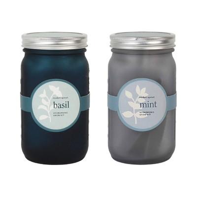 Modern Sprout Glass Jar Grow Set - Basil + Mint