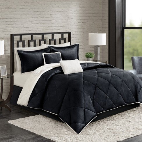 4pc Twin Stockholm Velvet Reverse to Sherpa Comforter Set Black - image 1 of 5