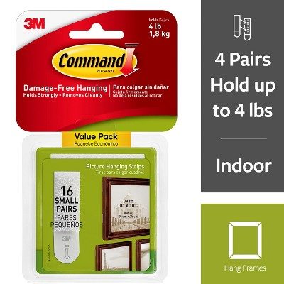 Command 16 Sets of Strips/Pack Small Picture Hanging Strips - White