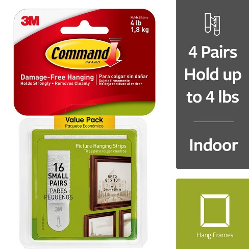 Command 16 Sets of Strips/Pack Small Picture Hanging Strips - White - image 1 of 13
