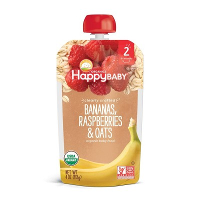 HappyBaby Clearly Crafted Bananas Raspberries & Oats Baby Food Pouch - (Select Count)
