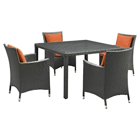 Sojourn 5pc Square Patio Dining Set with Sunbrella Fabric - Modway - image 1 of 7