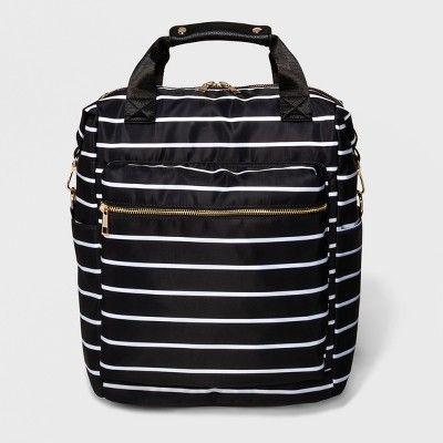 Striped Printed Nylon Backpack - A New Day™ White/Black