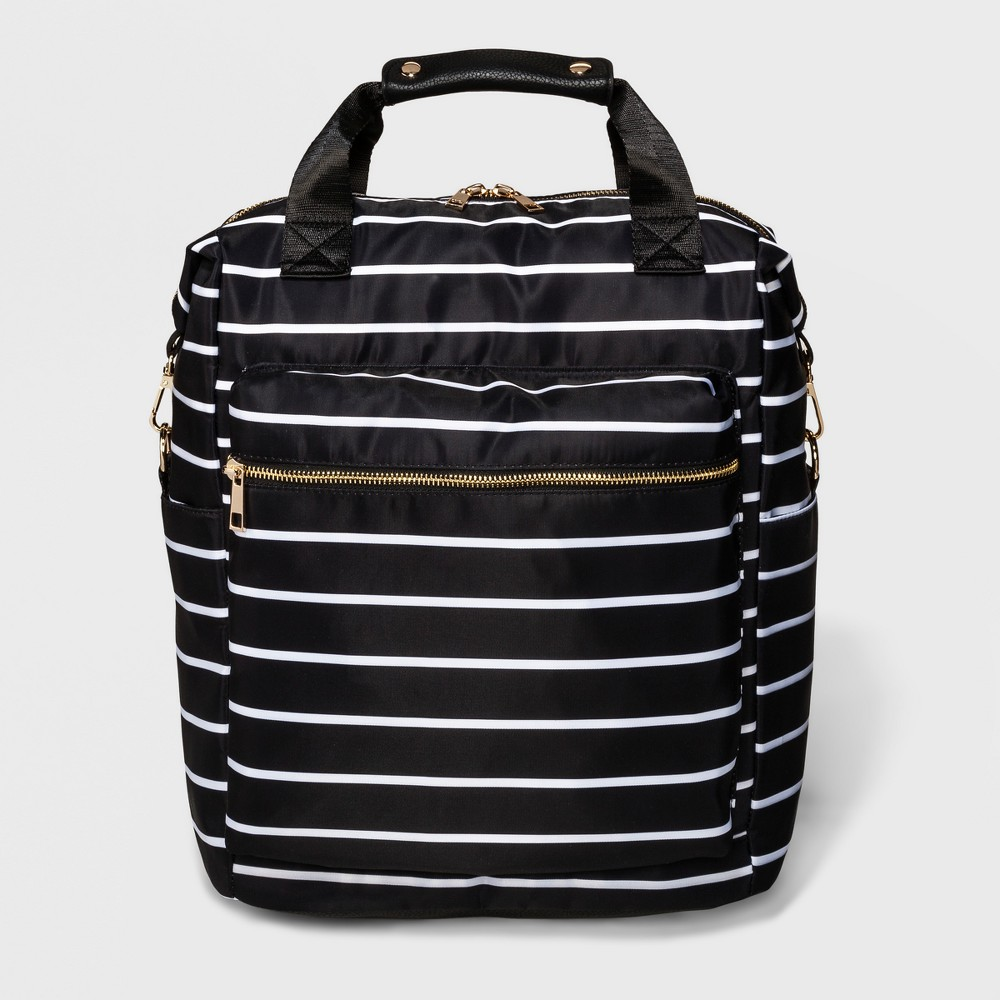 Striped Printed Nylon Backpack - A New Day White/Black