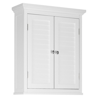Slone 2 Door Shuttered Wall Cabinet - White - Elegant Home Fashion