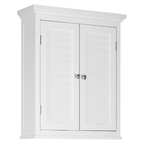 Slone 2 Door Shuttered Wall Cabinet - White - Elegant Home Fashion - image 1 of 6