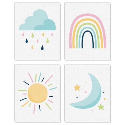 Big Dot of Happiness Colorful Children's Decor - Unframed Rainbow, Cloud, Sun, and Moon Linen Paper Wall Art - Set of 4 - Artisms - 8 x 10 inches