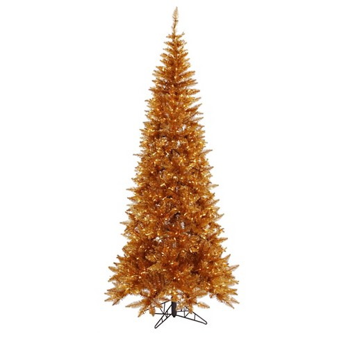 4.5ft Pre-Lit Artificial Christmas Tree Tinsel Copper Slim - Clear Lights - image 1 of 1