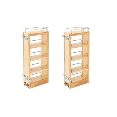 Rev-A-Shelf 448-WC-5C 5-Inch Maple Wood Pull Out Wall Cabinet Organizer (2 Pack)