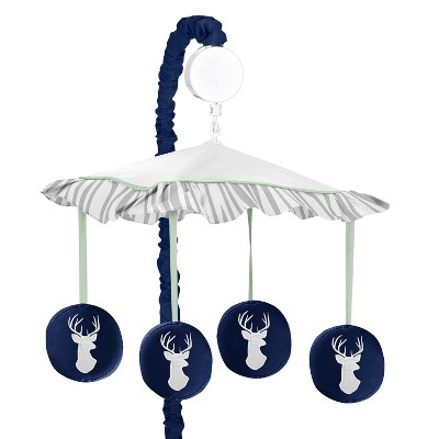 Sweet Jojo Designs Musical Crib Mobile - Navy & Mint Woodsy
