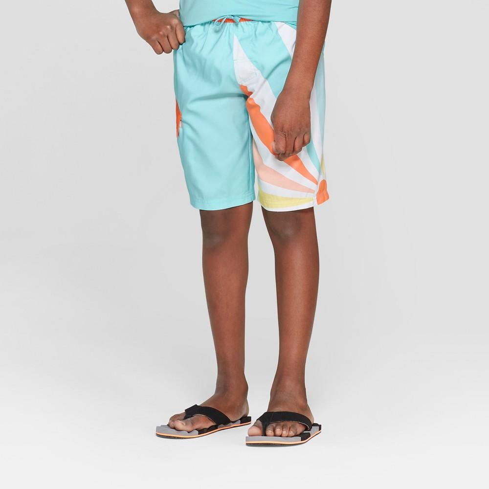 Boys' Sunshine Swim Trunks - Cat & Jack Green/Blue/Navy XS