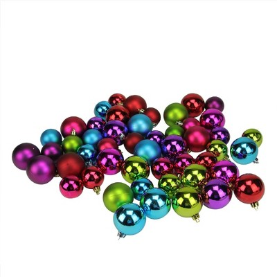 "Northlight 50ct Shatterproof Shiny and Matte Christmas Ball Ornament Set 2"" - Purple/Green"