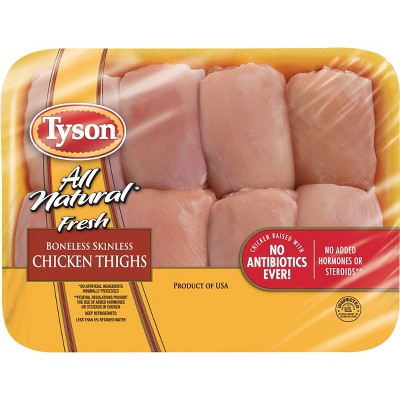 Tyson All Natural Boneless & Skinless Antibiotic Free Chicken Thighs - 1.26-2.938 lbs - price per lb