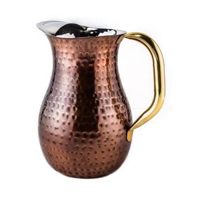 Old Dutch 74oz Stainless Steel Hammered Beverage Pitcher with Ice Guard Copper