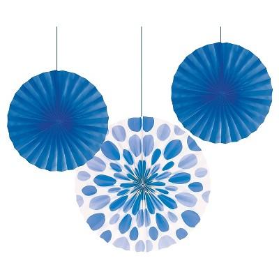 3ct Blue Paper Fans Hanging Party Decorations