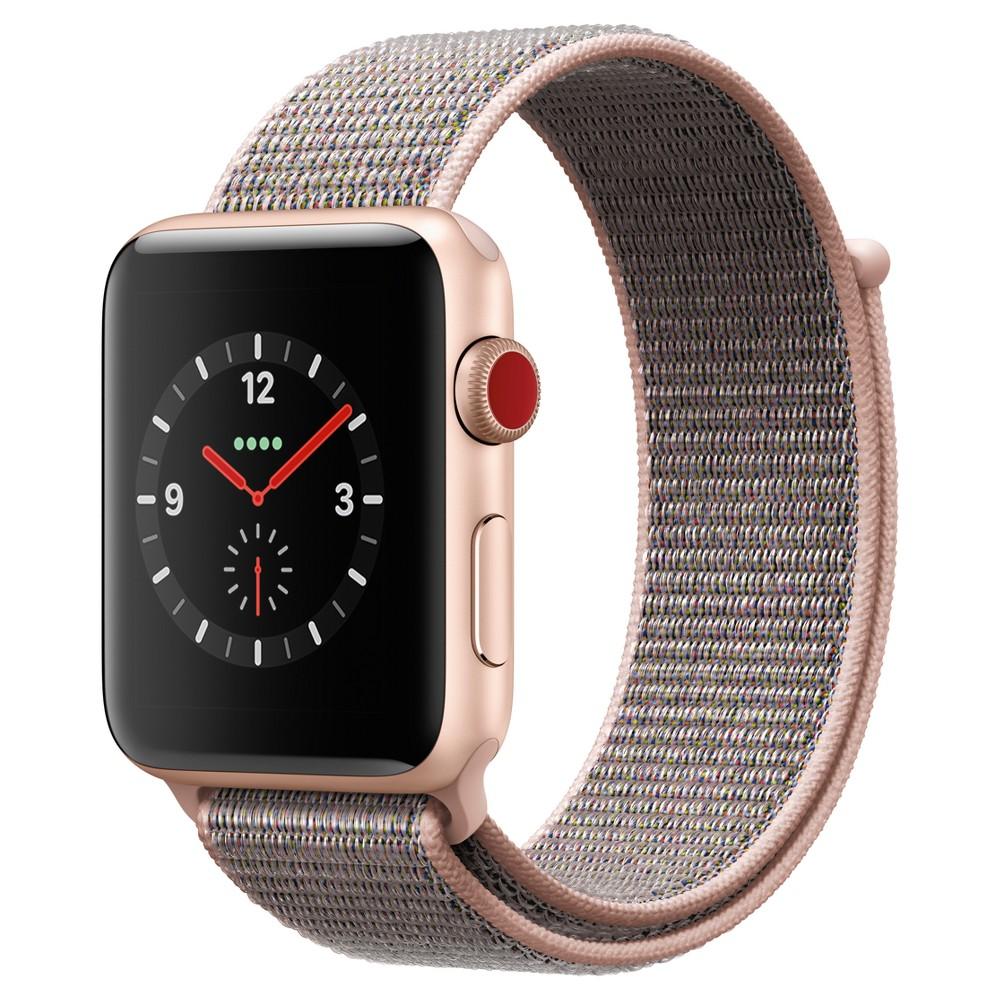 Apple Watch Series 3 42mm (GPS + Cellular) Aluminum Case Nylon Sport Loop Band - Pink Sand, Gray