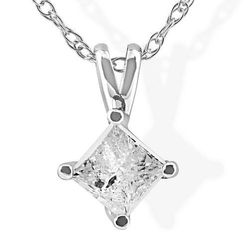 Pompeii3 1/3Ct Princess Cut Solitaire Diamond 14K White Gold Pendant & Chain - image 1 of 4