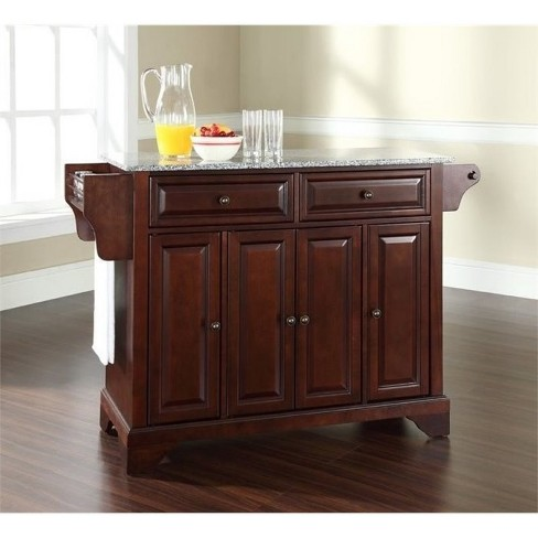 Wood Solid Granite Top Kitchen Island in Mahogany Brown - Bowery Hill