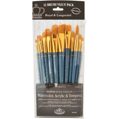 Gold Taklon Angular Variety Pack Brush Set-12/Pkg