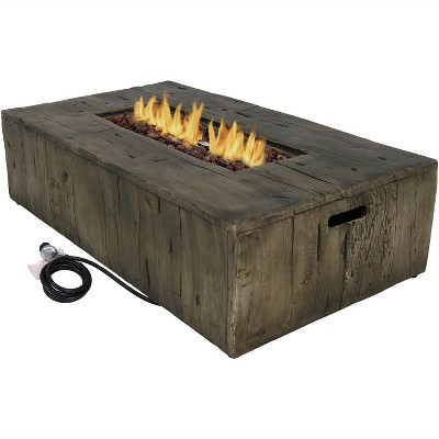 """Sunnydaze Rustic Rectangular Propane Gas Fire Pit Table with Outdoor Weather-Resistant Durable Cover and Lava Rocks - 48"""" L - Faux Wood"""