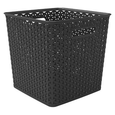 """11"""" Y Weave Basket Bin Black - Room Essentials™"""