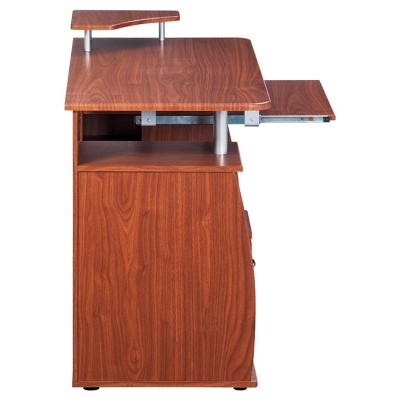 Exceptionnel Complete Computer Workstation Desk With Storage Mahogany   Techni Mobili