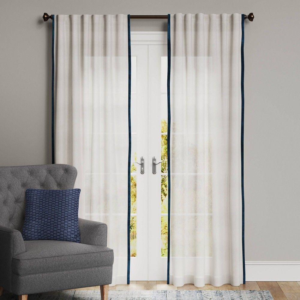 "Best 63""x50"" Marlow Velvet Trim Light Filtering Curtain Panel  - Threshold™"