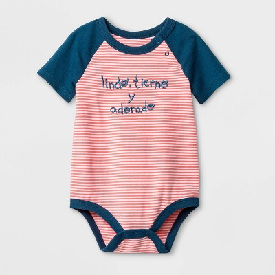Baby Boys' Short Sleeve Spanish Lap Shoulder Bodysuit - Cat & Jack™ Peach/Blue 0-3M