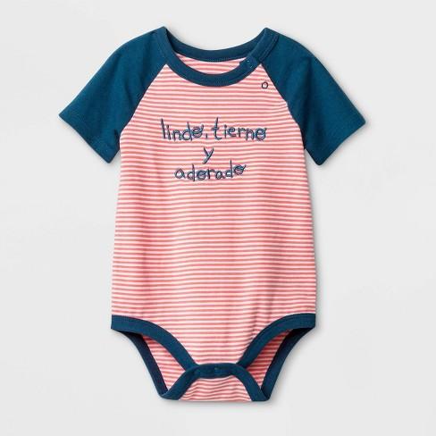 Baby Boys' Short Sleeve Spanish Lap Shoulder Bodysuit - Cat & Jack™ Peach/Blue - image 1 of 1