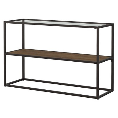 Anthropology Glass Top Console Table Brown - Bush Furniture