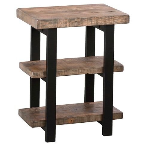 2 Shelf End Table Reclaimed Wood Rustic Natural Alaterre Furniture