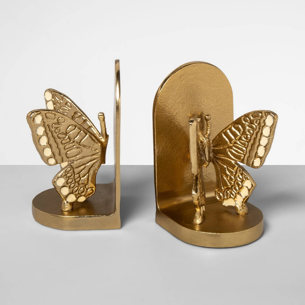"Image of ""6.6"""" x 3.7"""" 2pc Brass Butterfly Bookend Set Gold - Opalhouse"""