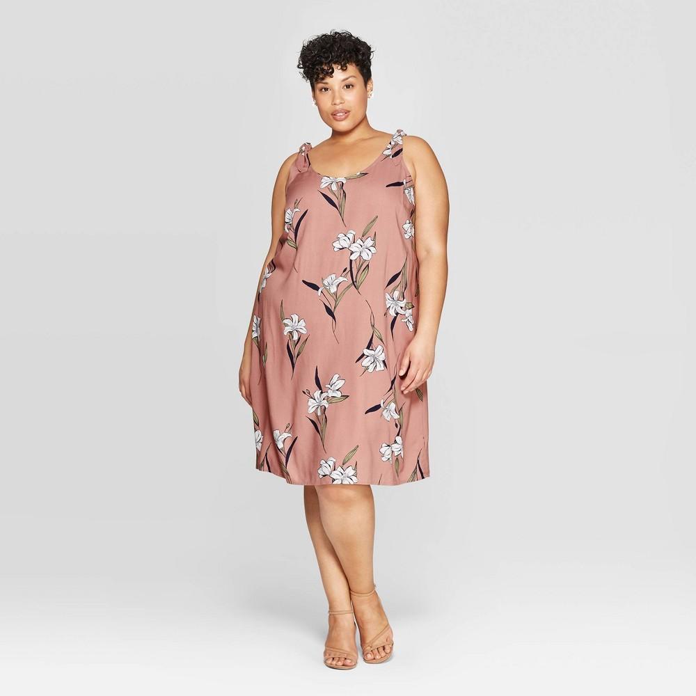 a9588f7dbbcea Womens Plus Size Floral Print Tie Strap U Neck Dress Ava Viv Mauve 4X Purple